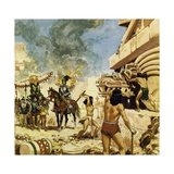 To Protect Themselves from the Defenders, the Spaniards Destroyed the Buildings as They Took Them Giclee Print by Alberto Salinas