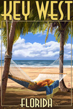 Key West, Florida - Hammock Scene Plastic Sign by  Lantern Press