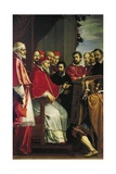 Michelangelo Presenting Model of Building of Rota Court in Giulia Street to Pope Julius III Giclee Print by Fabrizio Boschi