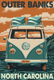 VW Van - Outer Banks, North Carolina Plastic Sign by  Lantern Press