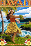 Hawaii Hula Girl on Coast Wall Sign by  Lantern Press