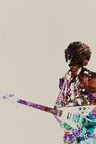 Hendrix With Guitar Watercolor Wall Sign