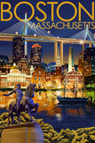Boston, Massachusetts - Skyline at Night Plastic Sign by  Lantern Press