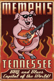 Lantern Press - Memphis, Tennessee - Guitar Pig Plastové cedule
