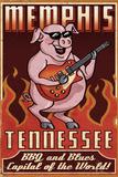 Memphis, Tennessee - Guitar Pig Plastikschild von  Lantern Press