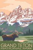 Grand Teton National Park - Moose and Mountains Plastic Sign by  Lantern Press