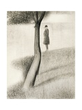 Man Standing Next to Tree; Study on La Grande Jatte, 1884-1885 Giclee Print by Georges Seurat
