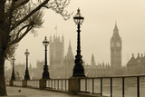 Big Ben And Houses Of Parliament, London In Fog Plastic Sign by  tombaky