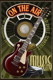 Nashville, Tennessee - Guitar and Microphone Plastic Sign by  Lantern Press