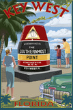 Key West, Florida - Southernmost Point Wall Sign by  Lantern Press