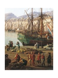 Unloading Goods from Galley, Detail from Port of Toulon, 1756 Giclee Print by Claude-Joseph Vernet