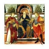 St Anthony Abbot on Throne Surrounded by Saints Leonardo and Giuliano Giclée-tryk af Domenico Ghirlandaio
