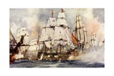 "The ""Victory"" at Trafalgar. Nelson's Flagship Nearing the ""Santissima Trinidad"" Giclee Print by Charles Edward Dixon"