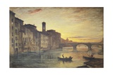 The Arno River and the Holy Trinity Bridge in Florence Giclee Print by Antonio Fontanesi