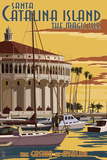 Catalina Island, California - Casino & Marina Plastic Sign by  Lantern Press