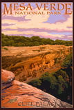 Mesa Verde National Park, Colorado - Cliff Palace at Sunset Plastic Sign by  Lantern Press