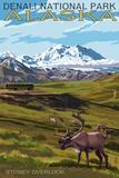 Denali National Park, Alaska - Caribou and Stoney Overlook Wall Sign