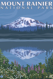 Mount Rainier, Reflection Lake Plastic Sign by  Lantern Press