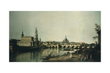 View of Dresden from Right Bank of Elbe Beneath Augustus Bridge Giclee Print by Bernardo Bellotto
