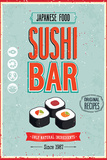 Vintage Sushi Bar Poster Wall Sign by  avean
