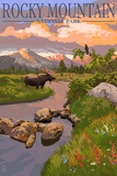 Moose and Meadow - Rocky Mountain National Park Wall Sign by  Lantern Press