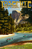 Merced River Rafting - Yosemite National Park, California Wall Sign by  Lantern Press