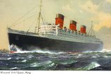 View of Cunard Ocean Liner Queen Mary Wall Sign by  Lantern Press