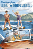 Lake Winnipesaukee, New Hampshire - Water Skiing Scene Plastic Sign by  Lantern Press