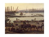 Loading of Goods from Boats to Wagons, Detail from the Port of Toulon Giclee Print by Claude-Joseph Vernet