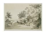 A Chapel of the Great Temple of Macao, Plate 10 from 'Sketches of China', Engraved by Eugene Ciceri Giclee Print by Auguste Borget