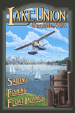 Lake Union Float Plane, Seattle, Washington Plastic Sign by  Lantern Press