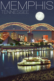 Memphis, Tennessee - Memphis Skyline at Night Plastic Sign by  Lantern Press