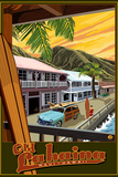 Old Lahaina Fishing Town with Surfer, Maui, Hawaii Wall Sign by  Lantern Press
