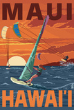 Maui, Hawaii - Windsurfers Scene at Sunset Wall Sign