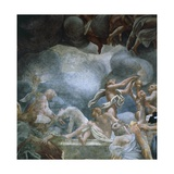 Youths on Balcony, Detail of Frescoes of Dome of Parma Cathedral Giclee Print by Antonio Allegri Da Correggio