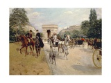 Riders and Coaches on Bois De Boulogne Avenue in Paris with the Arc De Triomphe in the Background Giclee Print by Georges Stein