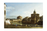 A View of Rome Along the Tiber, with the Church of San Giovanni Dei Fiorentini Beyond Giclee Print by Bernardo Bellotto