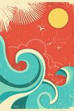 Vintage Tropical Background With Sea Waves And Sun プラスチックサインボード :  GeraKTV