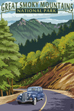 Chimney Tops and Road - Great Smoky Mountains National Park, TN Plastic Sign by  Lantern Press