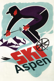 Ski in Colorado Vintage Skier - Aspen, Colorado Signes en plastique rigide par  Lantern Press