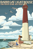 Barnegat Lighthouse - New Jersey Shore Wall Sign by  Lantern Press