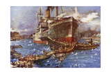 The Landing of Troops from the River Clyde at V Beach, Gallipoli Peninsula, Turkey, 25 April 1915 Giclee Print by Charles Edward Dixon