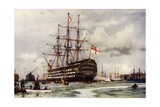 "The ""Victory"" at Portsmouth, Came into Harbour from Last Commission Nov, 1812 Giclee Print by Charles Edward Dixon"