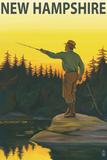 New Hampshire - Fisherman Wall Sign by  Lantern Press