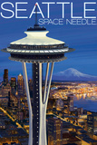 Space Needle Aerial View - Seattle, WA Wall Sign by  Lantern Press