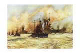The Battlecruiser Indomitable Towing the Wounded Battlecruiser Lion after the Battle of Dogger Bank Giclee Print by Charles Edward Dixon
