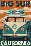 Big Sur, California - VW Van Blockprint Wall Sign