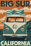 Big Sur, California - VW Van Blockprint Wall Sign by  Lantern Press