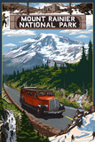Mount Rainier National Park Plastic Sign by  Lantern Press