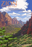 Zion National Park - Zion Canyon View Wall Sign by  Lantern Press